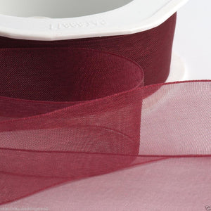 Bordeaux - Woven Edge Organza - Sheer Ribbon - 4 Widths