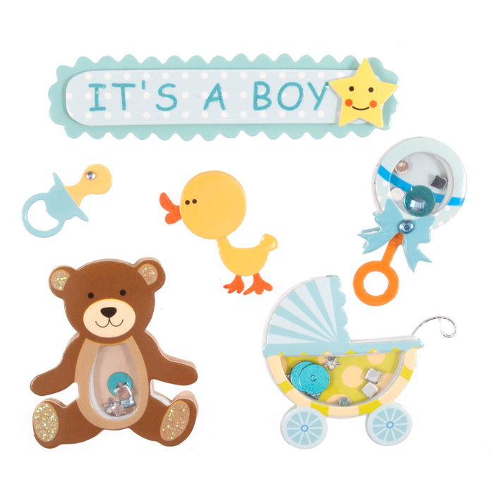 Craft For Occasions It's A Boy Blue Baby Card Toppers - Self Adhesive - C2092