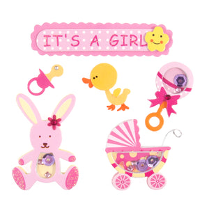 Craft For Occasions It's A Girl Pink Baby Card Toppers - Self Adhesive - C2093 - Button Blue Crafts