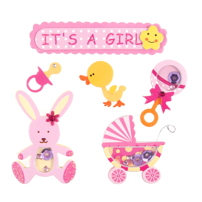 Craft For Occasions It's A Girl Pink Baby Card Toppers - Self Adhesive - C2093
