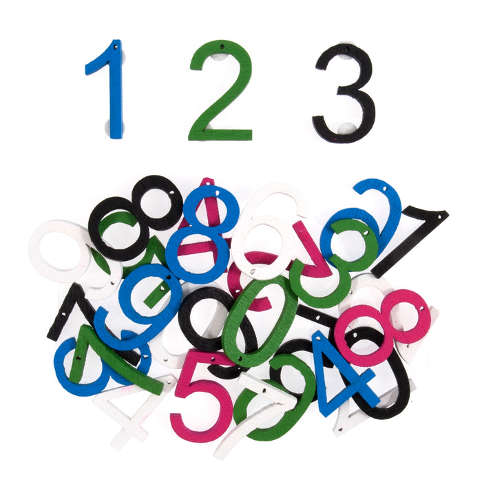 Craft For Occasions Coloured Wooden Numbers Craft Embellishments - 30 Pack
