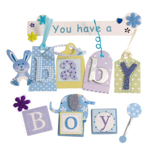Craft For Occasions Baby Boy Blue Card Toppers - Self Adhesive - C2175BL - Button Blue Crafts