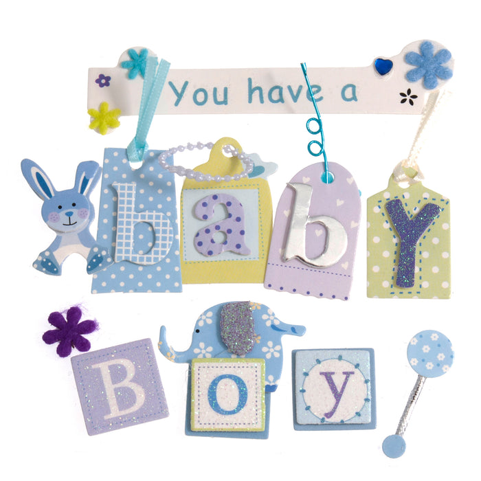 Craft For Occasions Baby Boy Blue Card Toppers - Self Adhesive - C2175BL