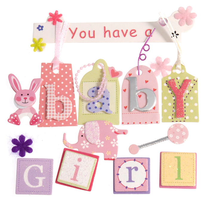 Craft For Occasions Baby Girl Pink Card Toppers - Self Adhesive - C2175