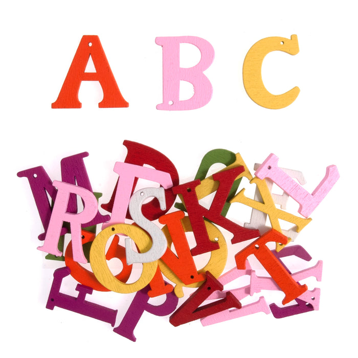 Craft For Occasions Coloured Wooden Alphabet Craft Embellishments - 24 Pack