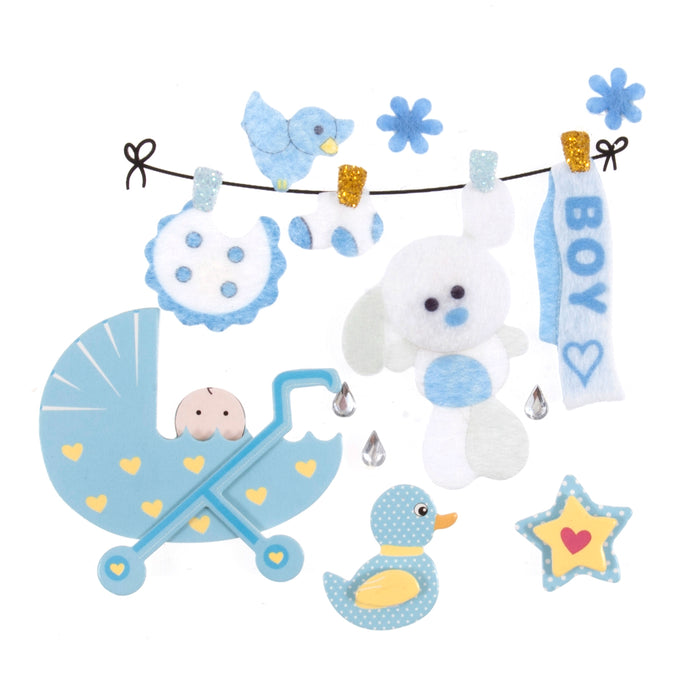 Craft For Occasions Baby Boy Blue Card Toppers - Self Adhesive - C2276BL