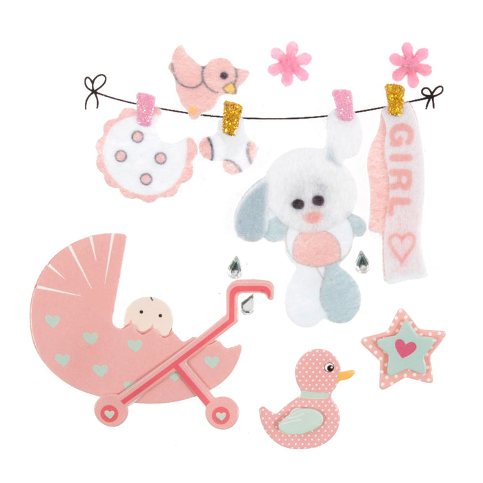 Craft For Occasions Baby Girl Pink Card Toppers - Self Adhesive - C2276PK