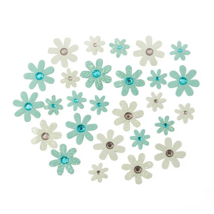 Self Adhesive Blue Diamante Glitter Paper Flowers - 30 Pack - Craft For Occasions - C2323