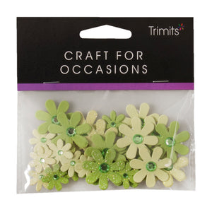 Self Adhesive Green Diamante Glitter Paper Flowers - 30 Pack - Craft For Occasions - C2323 - Button Blue Crafts