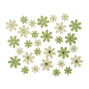 Self Adhesive Green Diamante Glitter Paper Flowers - 30 Pack - Craft For Occasions - C2323