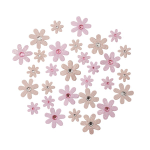 Self Adhesive Pink Diamante Glitter Paper Flowers - 30 Pack - Craft For Occasions - C2323