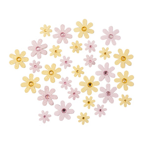 Self Adhesive Yellow / Pink Diamante Glitter Paper Flowers - 30 Pack - Craft For Occasions - C2323