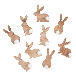 Wooden Pom Pom Tail Bunny Rabbits - 9 Pack - Craft For Occasions - C2353