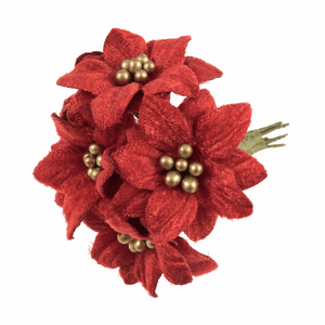 Red and Gold Velvet Poinsettias - Christmas Flowers, Christmas Crafts, Christmas Card Making