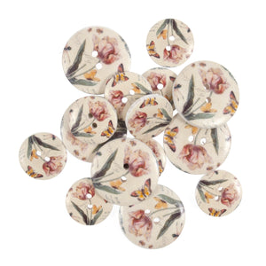 Vintage Tulips & Butterfly Wooden Floral Craft Buttons - Pack of 15 - CFB010