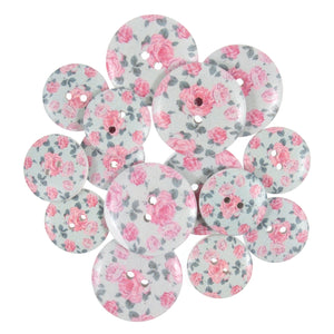 Vintage Pink Roses Wooden Craft Buttons - Pack of 15 - CFB024 - Button Blue Crafts
