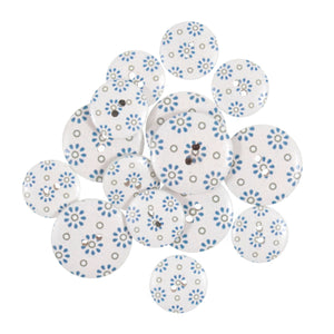Pale Blue Ditsy Daisies Wooden Craft Buttons - Pack of 15 - CFB041