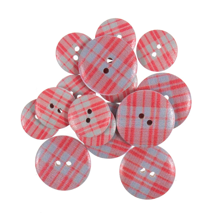 Red & Grey Check Tartan Wooden Craft Buttons - Pack of 15 - CFB068