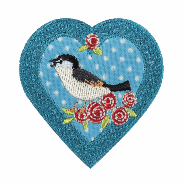 Bird In A Heart Motif - Iron Sew On - Embroidered Applique