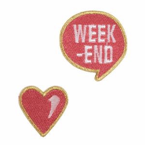 Love Week-End Motif - Iron Sew On - Embroidered Applique