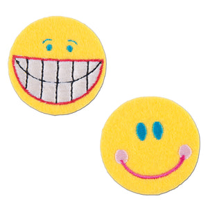 Smiley Face Emoji Motifs x 2 Iron Sew On Applique - CFM1/015 - Button Blue Crafts