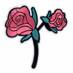 Roses On Stem Motif - Iron Sew On - Embroidered Applique