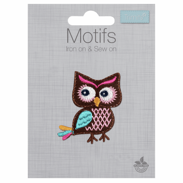 Colourful Owl Motif - Iron Sew On - Embroidered Applique