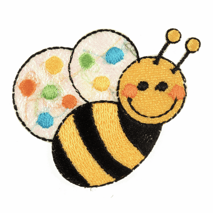 Happy Bee Motif - Iron Sew On - Embroidered Applique