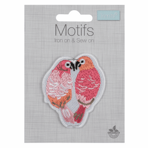 Love Birds Motif - Iron Sew On - Embroidered Applique