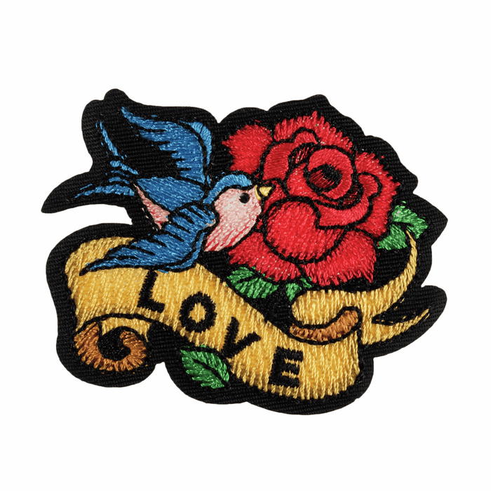 Love Tattoo Motif - Iron Sew On - Embroidered Applique