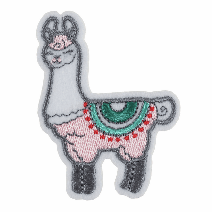 Llama In Pink Motif - Iron Sew On - Embroidered Applique