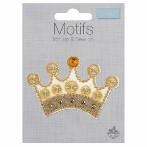Gem Gold Crown Motif - Iron Sew On - Embroidered Applique