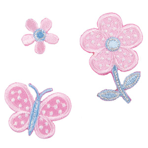 Flower & Butterfly x 3 Motifs Iron or Sew On Applique - CFM2/077 - Button Blue Crafts