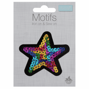Multi Sequin Star Motif - Iron Sew On - Embroidered Applique