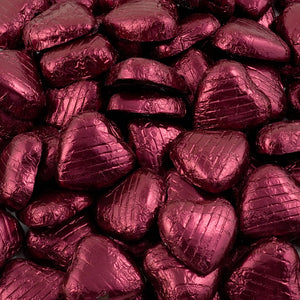 Burgundy Foil Wrapped Belgian Milk Chocolate Hearts - Wedding / Party Favours - Button Blue Crafts