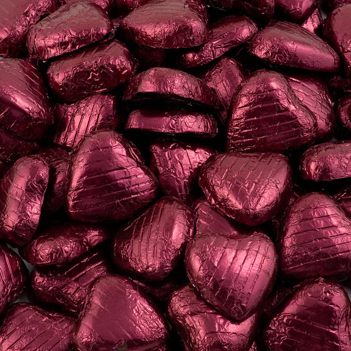 Burgundy Foil Wrapped Belgian Milk Chocolate Hearts - Wedding / Party Favours