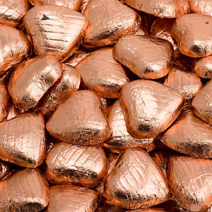 Copper Foil Wrapped Belgian Milk Chocolate Hearts - Wedding / Party Favours - Button Blue Crafts