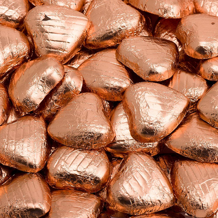 Copper Foil Wrapped Belgian Milk Chocolate Hearts - Wedding / Party Favours