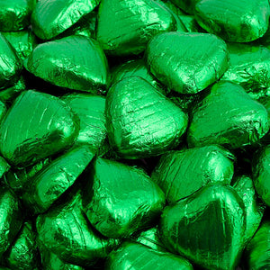 Emerald Green Foil Wrapped Belgian Milk Chocolate Hearts - Wedding / Party Favours - Button Blue Crafts