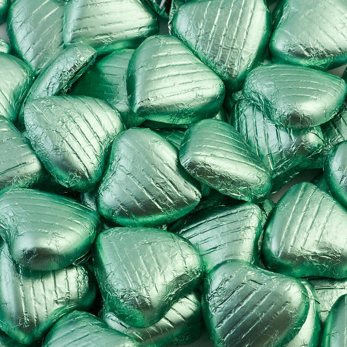 Light Green Foil Wrapped Belgian Milk Chocolate Hearts - Wedding / Party Favours