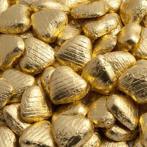 Gold Foil Wrapped Belgian Milk Chocolate Hearts - Wedding / Party Favours - Button Blue Crafts