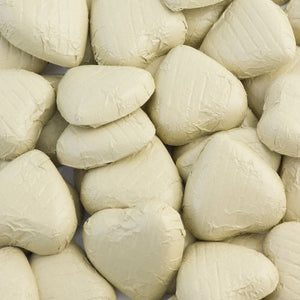Ivory Foil Wrapped Belgian Milk Chocolate Hearts - Wedding / Party Favours - Button Blue Crafts