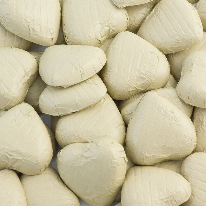 Ivory Foil Wrapped Belgian Milk Chocolate Hearts - Wedding / Party Favours