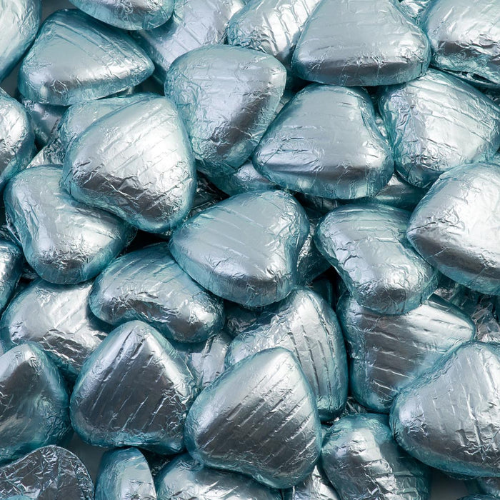 Light Blue Foil Wrapped Belgian Milk Chocolate Hearts - Wedding / Party Favours