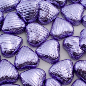 Lilac Foil Wrapped Belgian Milk Chocolate Hearts - Wedding / Party Favours