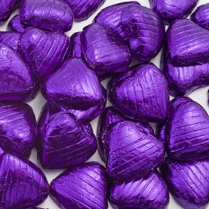 Purple Foil Wrapped Belgian Milk Chocolate Hearts - Wedding / Party Favours