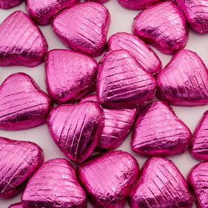Pink Foil Wrapped Belgian Milk Chocolate Hearts - Wedding / Party Favours