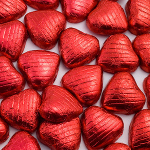 Red Foil Wrapped Belgian Milk Chocolate Hearts - Wedding / Party Favours