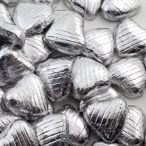 Silver Foil Wrapped Belgian Milk Chocolate Hearts - Wedding / Party Favours