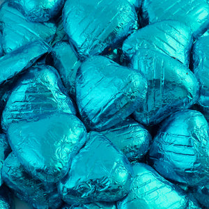 Turquoise Foil Wrapped Belgian Milk Chocolate Hearts - Wedding / Party Favours